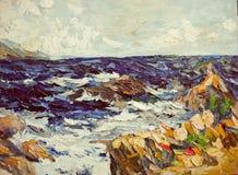Il mare e la roccia tempestosi dell'oceano tirano il primo piano in secco di struttura della pittura a olio royalty illustrazione gratis