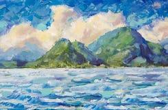 Il mare ed il cielo blu di verniciatura, le nuvole lanuginose bianche, barca in oceano, montagne, ondeggia Un prato del fiore dei Fotografia Stock