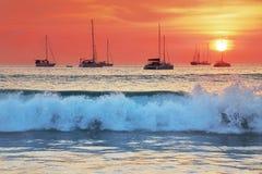 Il mare fluttua al tramonto Fotografia Stock Libera da Diritti