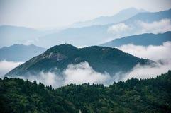 Il mare nuvoloso della montagna di Hanshan Fotografia Stock Libera da Diritti