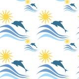 Il mare ondeggia con il modello senza cuciture di vacanze estive dei delfini illustrazione vettoriale
