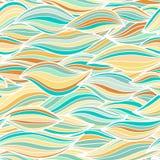 Il mare ondeggia l'illustrazione Modello senza cuciture della superficie del tessuto della carta da parati Fotografia Stock Libera da Diritti