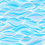 Il mare ondeggia l'illustrazione Patte senza cuciture della superficie del tessuto della carta da parati Fotografia Stock