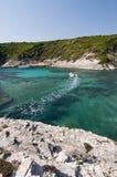 Il mare trasparente di Bonifacio, Corsica, Francia Immagini Stock