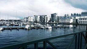 Il marinaio della barca in Helsinborg, Svezia Fotografia Stock