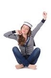 Il marinaio della giovane donna isolato su bianco Fotografie Stock Libere da Diritti