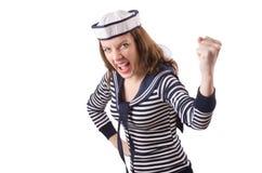 Il marinaio della giovane donna isolato su bianco Fotografie Stock