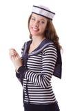 Il marinaio della giovane donna su bianco Immagini Stock Libere da Diritti