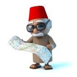 il marocchino 3d legge la sua mappa Fotografia Stock