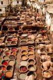 Il Marocco, Fes, conceria Fotografie Stock Libere da Diritti