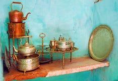 Il Marocco, Marrakesh: crokery tradizionale di cerimonia nuziale Fotografia Stock Libera da Diritti