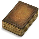 Il marrone della copertina di vecchio libro nasconde il fondo bianco Fotografia Stock Libera da Diritti