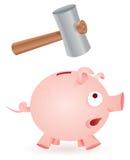 Il martello rompe la banca piggy immagine stock libera da diritti