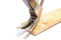 Il martello sta rimuovendo il chiodo arrugginito fotografia stock libera da diritti
