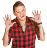 Il maschio con le mani si apre Immagine Stock
