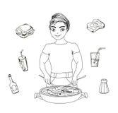 Il maschio del fumetto si è vestito nel cuocere illustrazione vettoriale