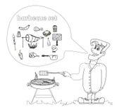 Il maschio del fumetto si è vestito nel cuocere l'abbigliamento alla griglia che cucina la carne. royalty illustrazione gratis