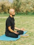 Il maschio di forma fisica sta esercitando nel parco Concetto di yoga Fotografia Stock Libera da Diritti