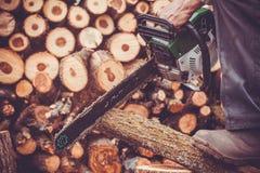 Il maschio passa il tronco di taglio con la motosega Immagini Stock