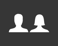 Il maschio predefinito e l'avatar femminile profilano l'icona dell'immagine Segnaposto della foto della donna e dell'uomo illustrazione vettoriale
