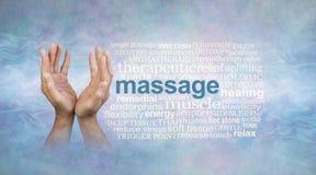 Il massaggio maschio passa la nuvola di parola Immagine Stock