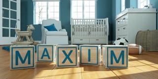 Il massimo di nome scritto con i cubi di legno del giocattolo nella stanza del ` s dei bambini Immagini Stock