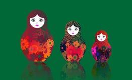 Il matrioshka russo delle bambole di incastramento, ha fissato il simbolo variopinto dell'icona della Russia I multi fiori hanno  illustrazione di stock