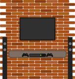 Il mattone della parete con la TV ed il gioco consolano l'attaccatura  Immagine Stock