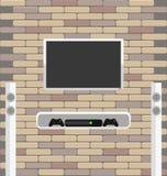 Il mattone della parete con la TV ed il gioco consolano l'attaccatura  Immagine Stock Libera da Diritti