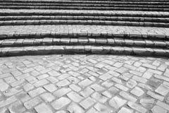 Il mattone di pietra curvo fa un passo (2) Fotografie Stock Libere da Diritti