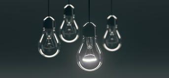 Il mazzo che appende le lampadine di vetro classiche con una di loro si è acceso royalty illustrazione gratis