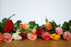 Il mazzo dei fiori rosa di molti colori ha messo su una tavola di legno leggera e su un fondo bianco Immagine Stock