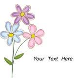 Il mazzo dei fiori scarabocchia il vettore con spazio per testo Immagini Stock