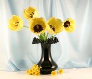 Il mazzo dei tulipani gialli Fotografia Stock Libera da Diritti