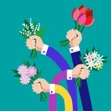 Il mazzo della tenuta del gruppo delle mani fiorisce l'affare royalty illustrazione gratis