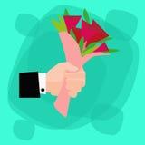 Il mazzo della tenuta della mano fiorisce Rose Flat rossa Fotografia Stock