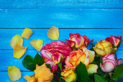 Il mazzo delle rose, rose di fioritura su un blu ha offuscato il fondo Fotografia Stock
