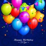 Il mazzo di compleanno variopinto balloons con le stelle e le bandiere variopinte delle stamine su fondo blu Vettore Fotografie Stock Libere da Diritti