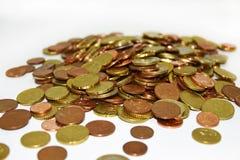 Il mazzo di euro conia i soldi Immagine Stock Libera da Diritti