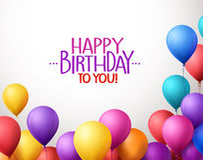 Il mazzo variopinto di buon compleanno Balloons il volo per il partito Fotografie Stock Libere da Diritti