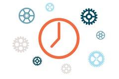 Il meccanismo delle ore con gli ingranaggi Immagine Stock