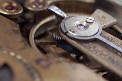 Il meccanismo di vecchio orologio Fotografie Stock Libere da Diritti
