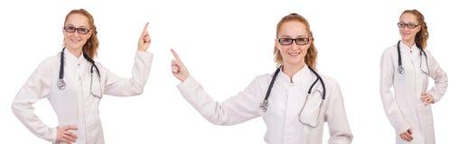 Il medico abbastanza femminile con lo stetoscopio isolato su bianco Immagine Stock Libera da Diritti