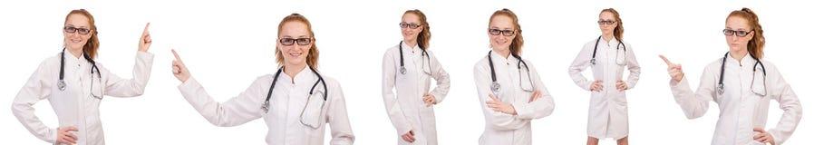 Il medico abbastanza femminile con lo stetoscopio isolato su bianco Fotografie Stock Libere da Diritti