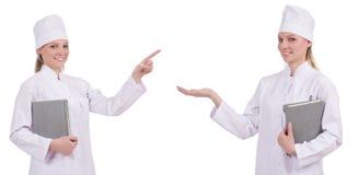 Il medico abbastanza femminile isolato su bianco Fotografia Stock Libera da Diritti