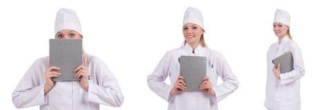 Il medico abbastanza femminile isolato su bianco Fotografie Stock