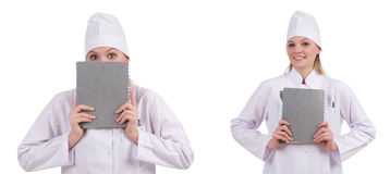 Il medico abbastanza femminile isolato su bianco Immagine Stock Libera da Diritti