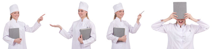 Il medico abbastanza femminile isolato su bianco Fotografia Stock