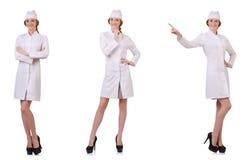 Il medico attraente della donna isolato su bianco Immagine Stock Libera da Diritti