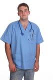 Il medico dell'allievo dentro frega e con lo stetoscopio Immagine Stock